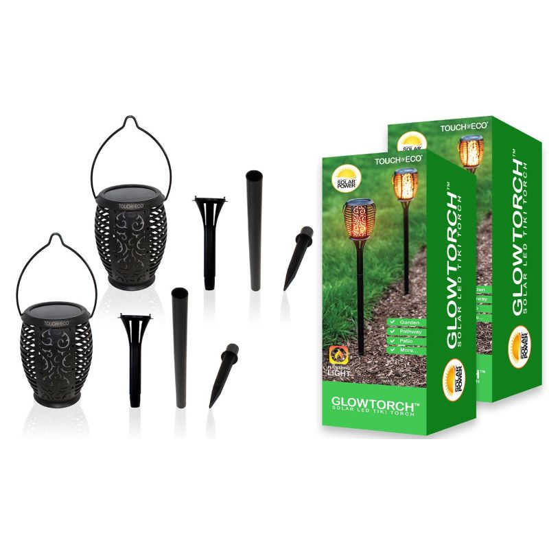 "Touch Of ECO GLOWTORCH Solar 32-LED Flickering 26"" Garden Stake Lights-2 Pack-Daily Steals"