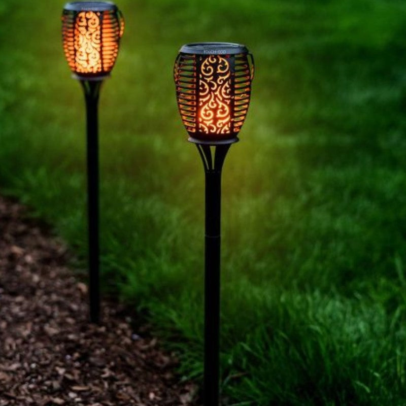 "Touch Of ECO GLOWTORCH Solar 32-LED Flickering 26"" Garden Stake Lights-Daily Steals"
