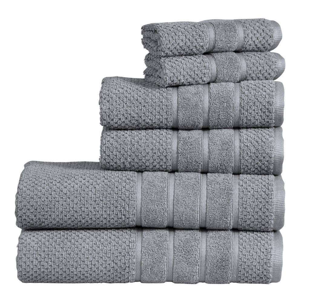 Daily Steals-[6-Piece] Bibb Home Absorbent 100% Zero Twist Cotton Towel Set - 6 Colors-Home and Office Essentials-Silver-