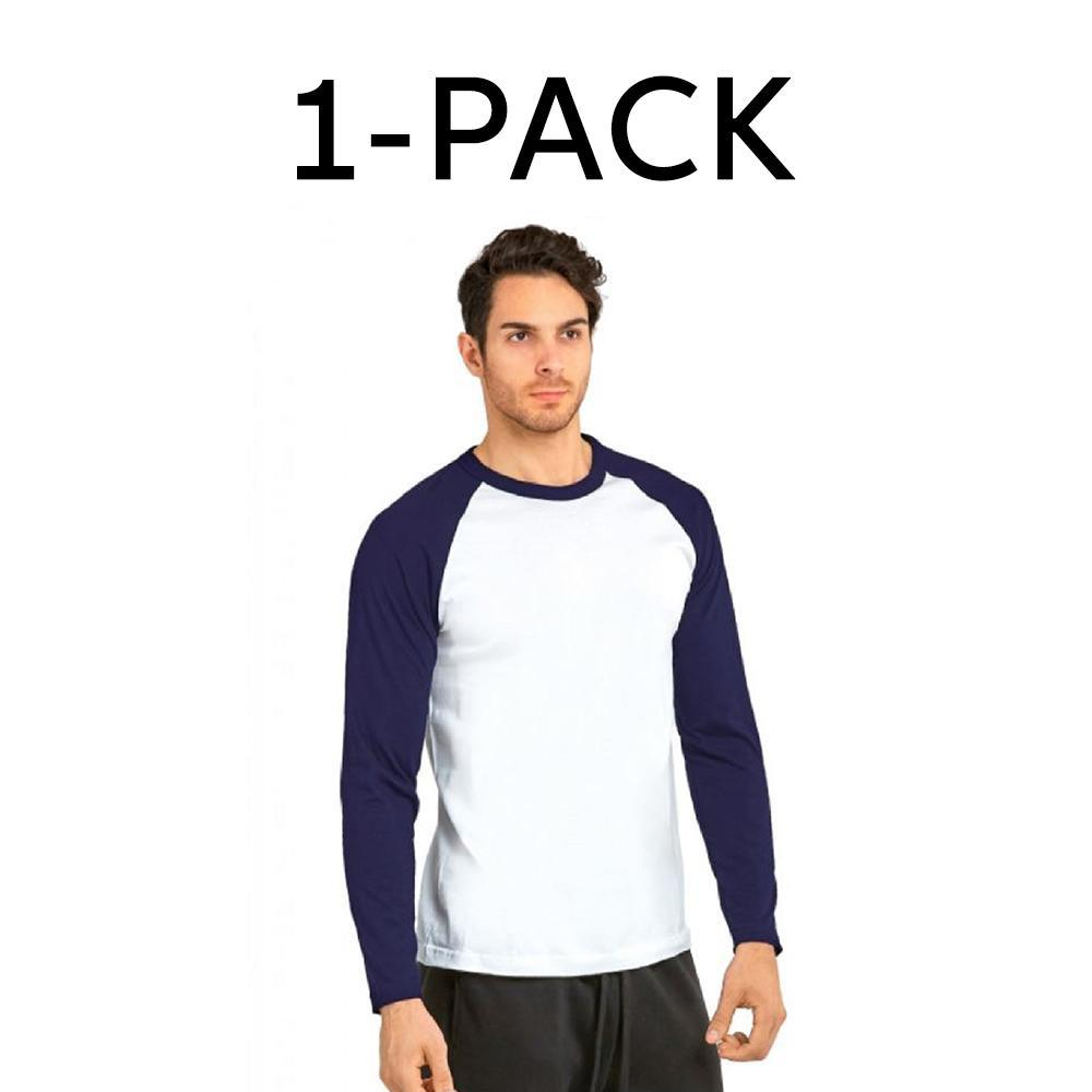 Daily Steals-Unibasic Men's Classic Raglan Cut Long Sleeve - 2 Tone Baseball Tee-Men's Apparel-1 Pack Navy Blue and White-S-