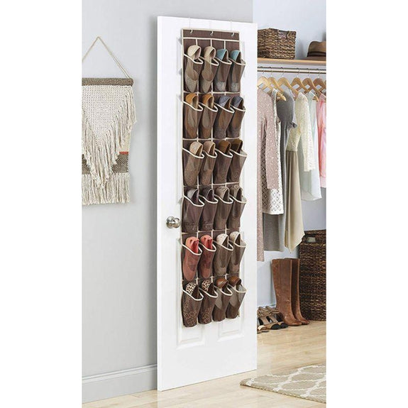 Whitmor Over The Door Shoe Shelves - 24 Sections - 2 Pack-Daily Steals