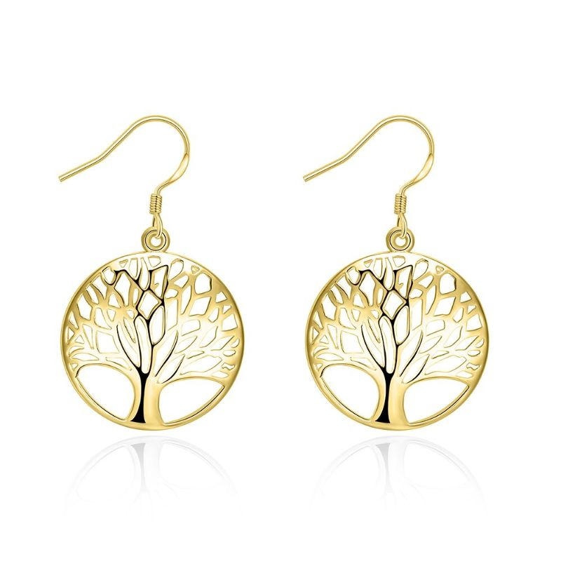 Tree of Life Drop Earrings-Yellow Gold-Daily Steals
