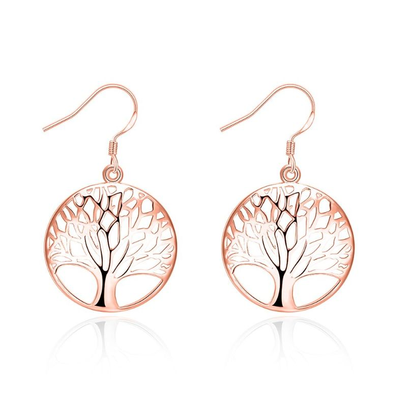Tree of Life Drop Earrings-Rose Gold-Daily Steals