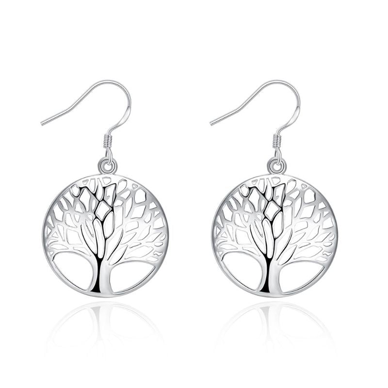 Tree of Life Drop Earrings-Silver-Daily Steals