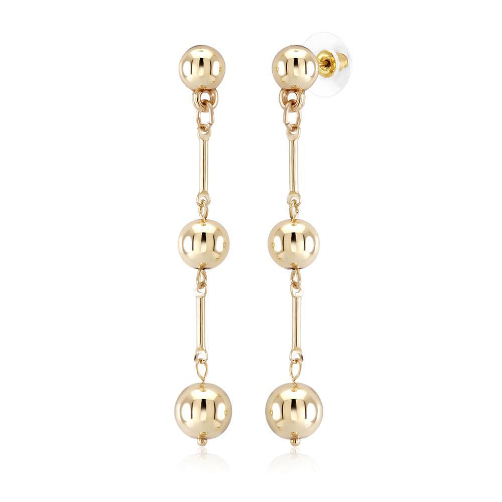 Daily Steals-Triple Drop Yellow Gold Earrings-Jewelry-