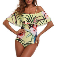Daily Steals-Tropical Flower Ruffle, One Piece Swimsuit-Women's Apparel-Yellow-Large-