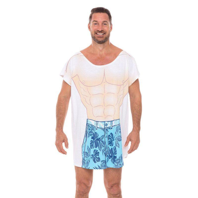 Tropical Sexy Muscle Cotton Cover-Ups T-Shirts for Men Guys Swimwear-