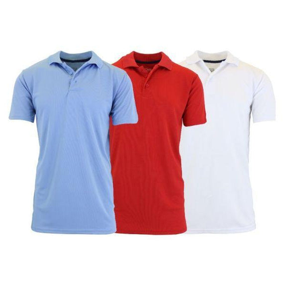 Men's Dry Fit Moisture-Wicking Polo Shirts - 3 Pack-Light Blue - Red - White-Small-Daily Steals