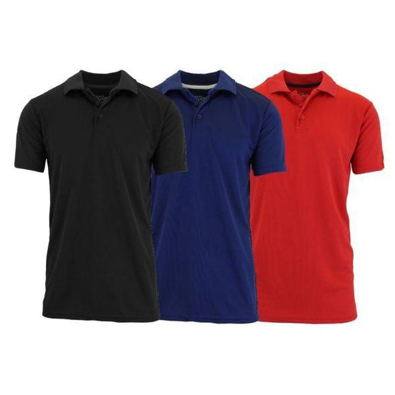 Men's Dry Fit Moisture-Wicking Polo Shirts - 3 Pack-Black - Navy - Red-Small-Daily Steals
