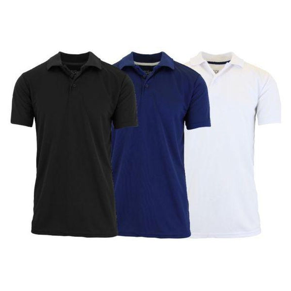 Men's Dry Fit Moisture-Wicking Polo Shirts - 3 Pack-Black - Navy - White-Small-Daily Steals