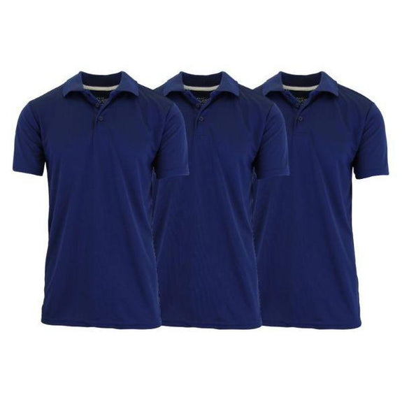 Men's Dry Fit Moisture-Wicking Polo Shirts - 3 Pack-Navy - Navy - Navy-Small-Daily Steals