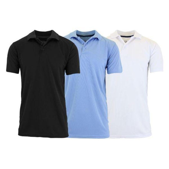 Men's Dry Fit Moisture-Wicking Polo Shirts - 3 Pack-Black - Light Blue - White-Small-Daily Steals