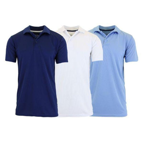 Men's Dry Fit Moisture-Wicking Polo Shirts - 3 Pack-Navy - White - Light Blue-Large-Daily Steals