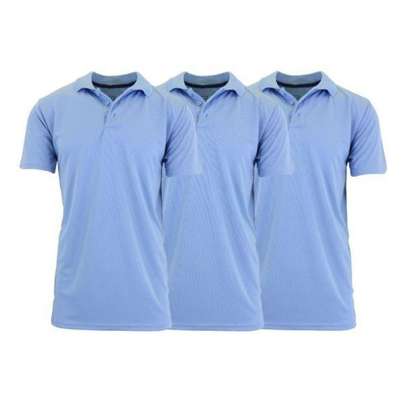 Men's Dry Fit Moisture-Wicking Polo Shirts - 3 Pack-Light Blue - Light Blue - Light Blue-Small-Daily Steals