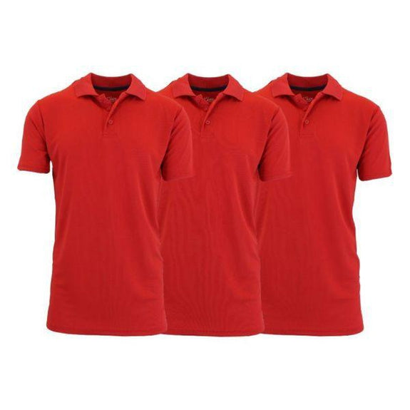 Men's Dry Fit Moisture-Wicking Polo Shirts - 3 Pack-Red - Red - Red-Small-Daily Steals