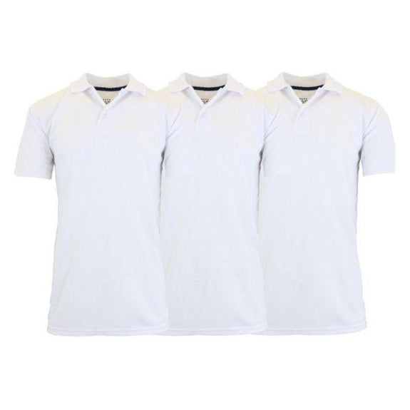 Men's Dry Fit Moisture-Wicking Polo Shirts - 3 Pack-White - White - White-Small-Daily Steals
