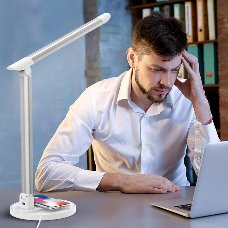 TaoTronics Aluminum LED Desk Lamp w/ Qi Wireless Charging Pad-Daily Steals