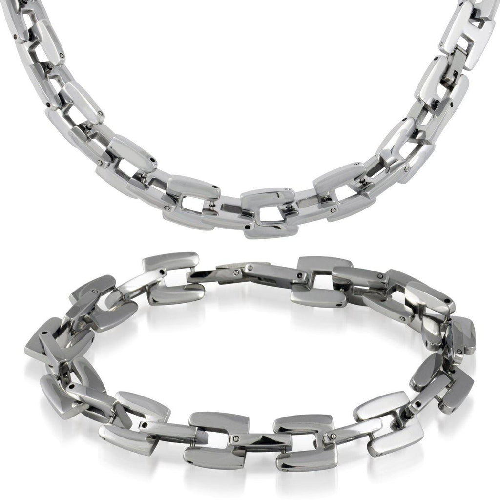 Men's Stainless Steel Open Design Necklace and Bracelet Set-White-Daily Steals
