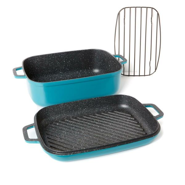 Curtis Stone Dura-Pan Nonstick 8.5 qt. Roaster with 3.5 qt. Grill Lid-Turquoise-Daily Steals