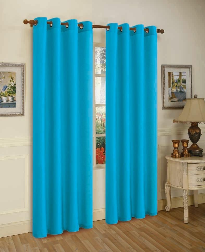 Mira Faux Silk Curtains with Bronze Grommets - 3 Panels-Turq-Daily Steals