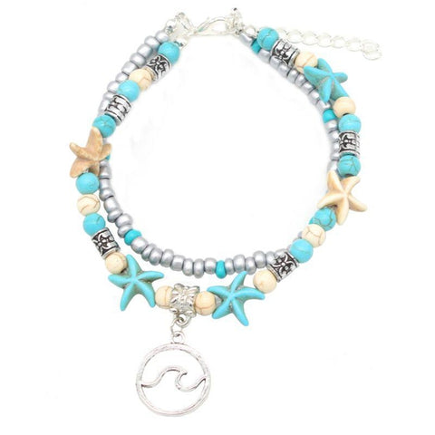 Turtle Or Tidal Wave Turquoise Two Row Anklets-Tidal Wave-
