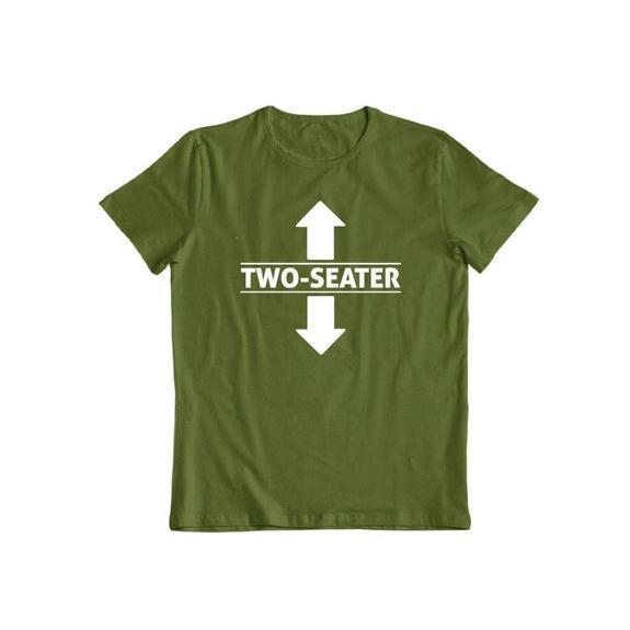 "Daily Steals-""Two Seater"" Funny T-shirt-Men's Apparel-Military Green-S-"