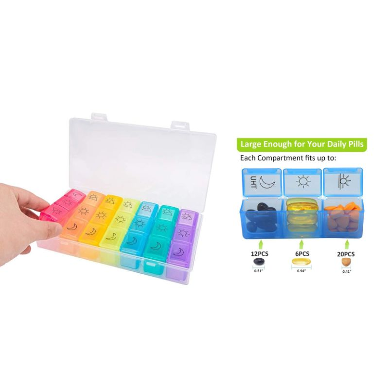 Colorful 3 Times Weekly Pills Vitamins Organizer with Large Compartments and Detachable Trays