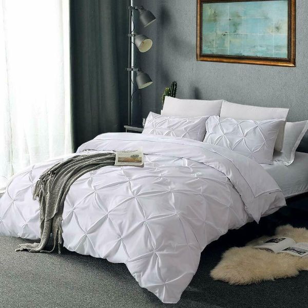 Laura's Lace 3 Piece Pintuck Pinch Pleated Duvet Cover - Zipper Closure-White-Queen-Daily Steals