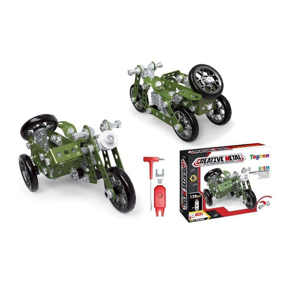 Creative Metal Build Your Own Vehicle Kit STEM Toy-Military Motorcycle-Daily Steals
