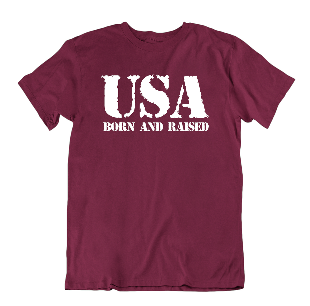 USA Born and Raised T Shirt-Maroon-Small-Daily Steals