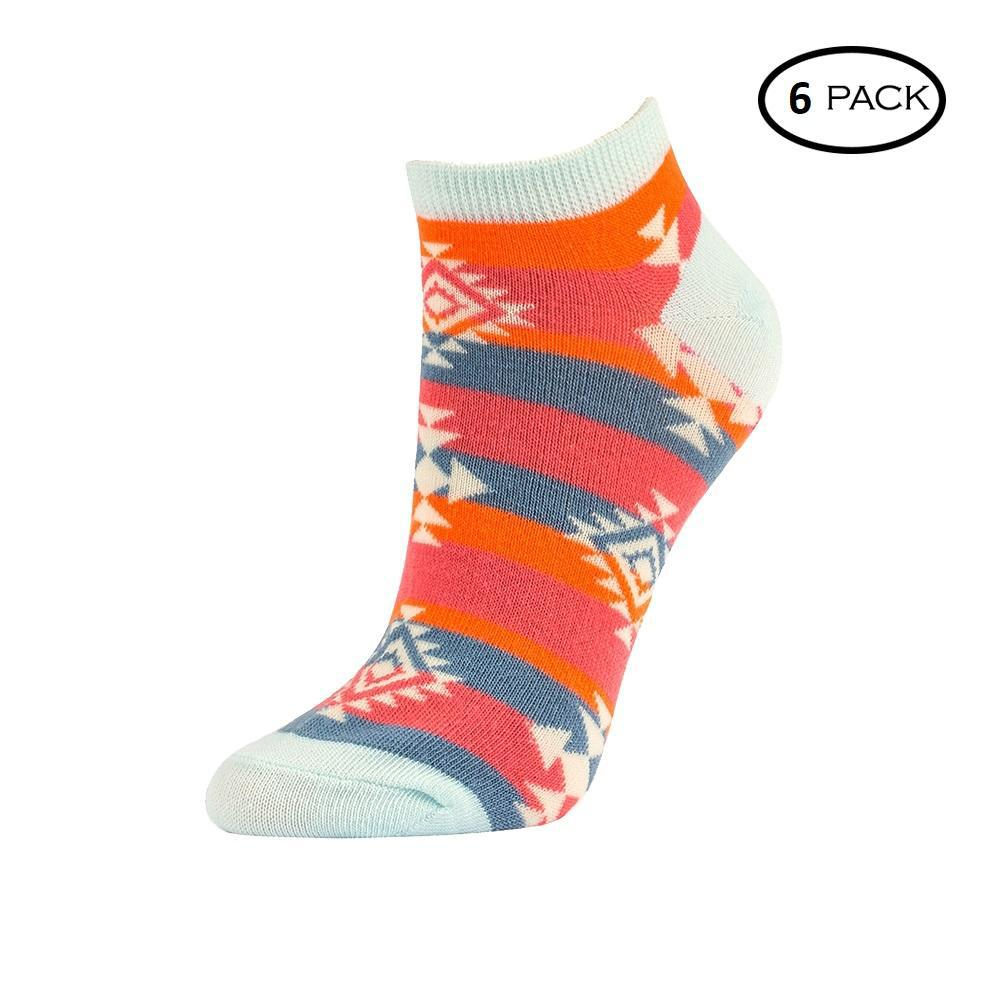Unibasic Fun Comfy Wear Cute Prints Women's Soft No Show Socks - 6 or 12 Pairs-White Arrows-Pack of 6-Daily Steals