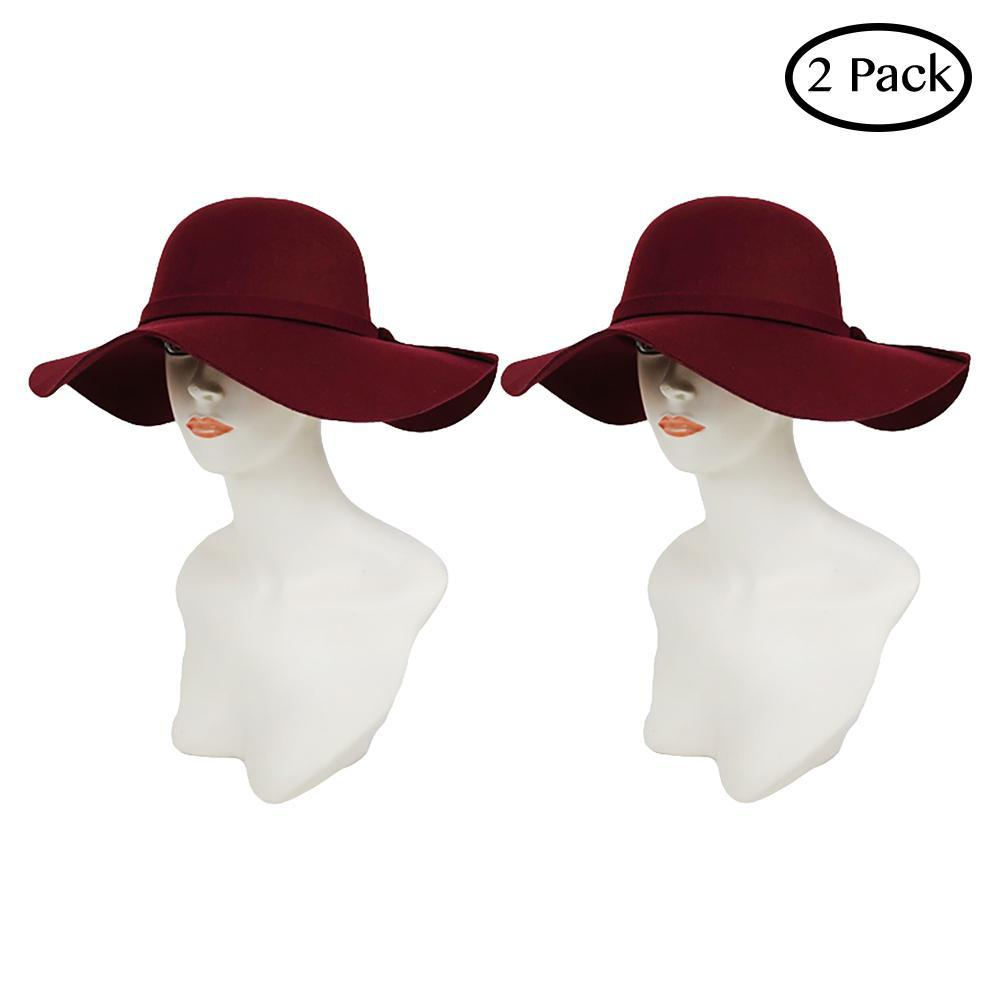 Fashion and Functional Wear Soft Comfy Vegan Hat Collection-Black and Burgundy-Floppy-2 Pack-Daily Steals