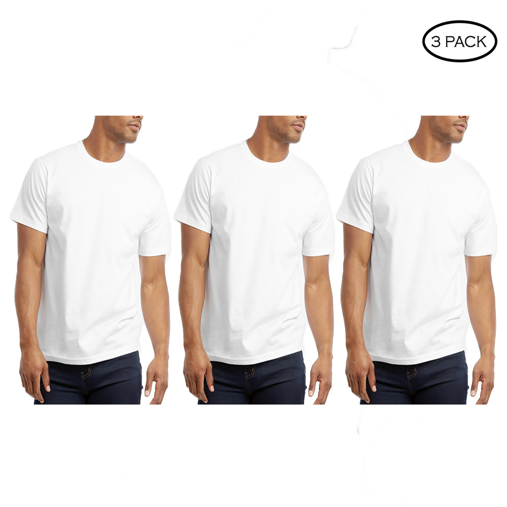 update alt-text with template Daily Steals-Crew Neck Cotton Plain T-Shirt - 3 Pack-Men's Apparel-White-S-