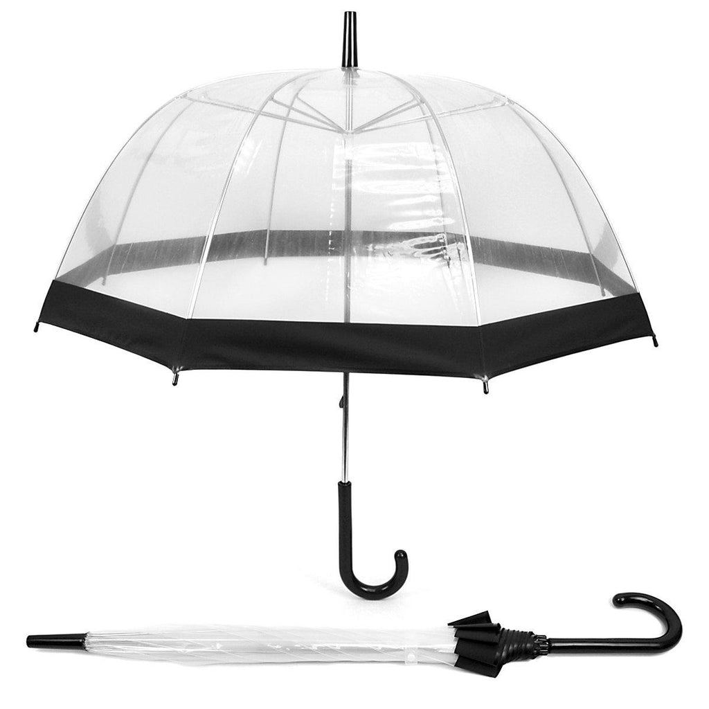 See-Thru-Bubble Wind-Resistant Premium Clear Umbrella with Color Border-Black-Daily Steals