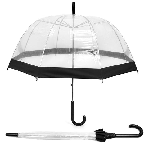 Daily Steals-See-Thru-Bubble Wind-Resistant Premium Clear Umbrella with Color Border-Outdoors and Tactical-Black-
