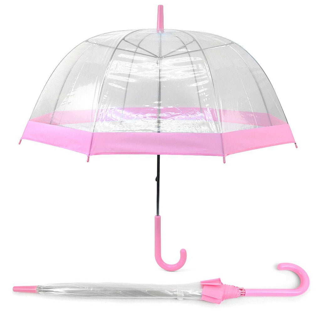 Daily Steals-See-Thru-Bubble Wind-Resistant Premium Clear Umbrella with Color Border-Outdoors and Tactical-Pink-