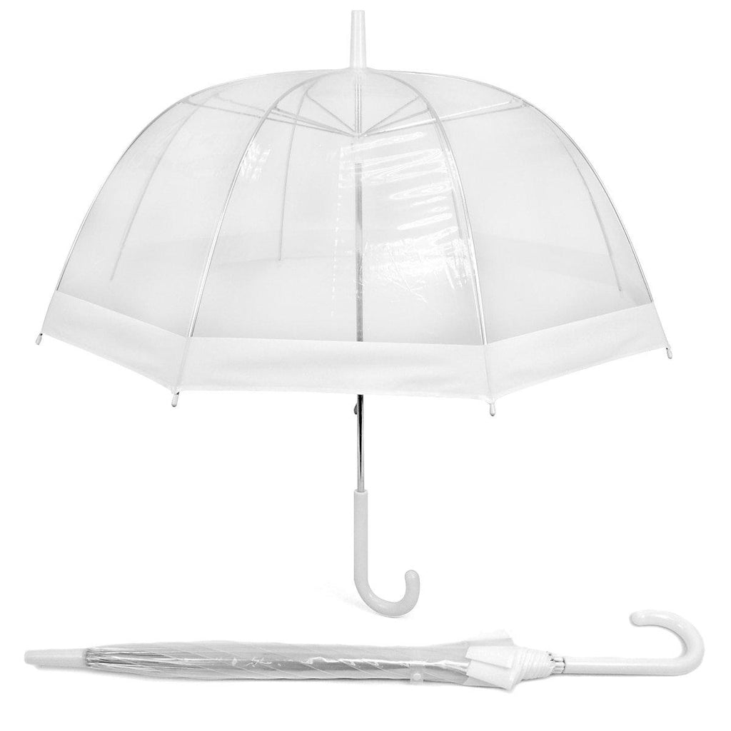 Daily Steals-See-Thru-Bubble Wind-Resistant Premium Clear Umbrella with Color Border-Outdoors and Tactical-White-