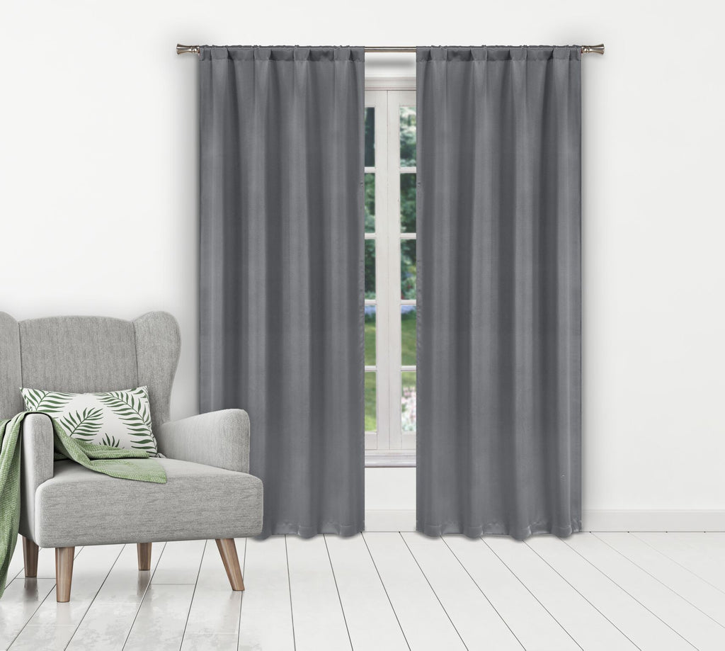Solid Room-Darkening Double-Layered Window Panels (2-Pack)-Grey-Daily Steals
