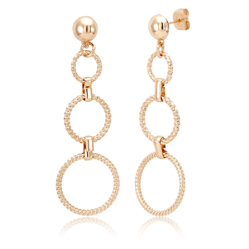 18kt Gold Plated Drop Fancy Earrings-Circle Drop-Daily Steals