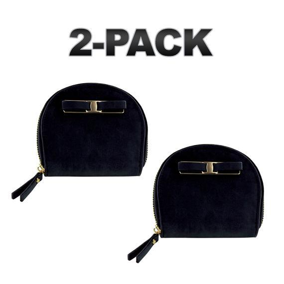 Daily Steals-Zip-Around Curved Closure Wallet with Four Card Slots-Accessories-Black-2 pack-