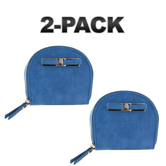 Daily Steals-Zip-Around Curved Closure Wallet with Four Card Slots-Accessories-Blue-2 pack-