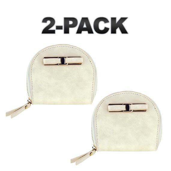 Daily Steals-Zip-Around Curved Closure Wallet with Four Card Slots-Accessories-Ivory-2 pack-