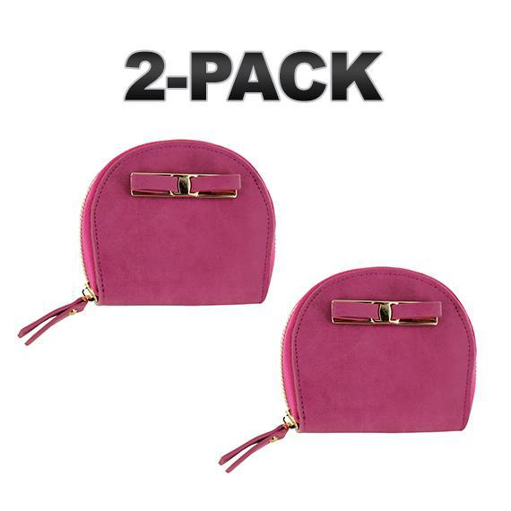 Daily Steals-Zip-Around Curved Closure Wallet with Four Card Slots-Accessories-Pink-2 pack-