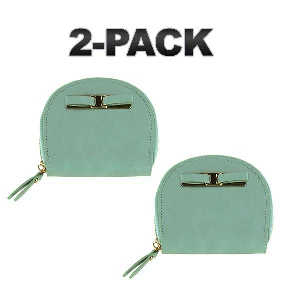 Daily Steals-Zip-Around Curved Closure Wallet with Four Card Slots-Accessories-Sage-2 pack-