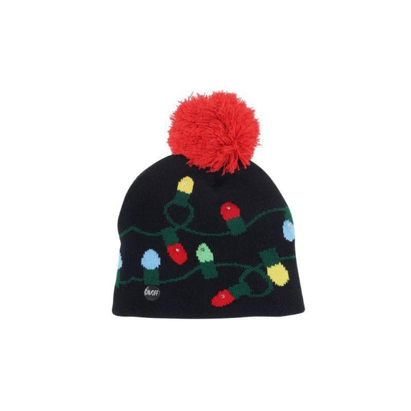 Ugly Sweater Flashing Holiday Beanie Hat for Kids-Light Bulbs-