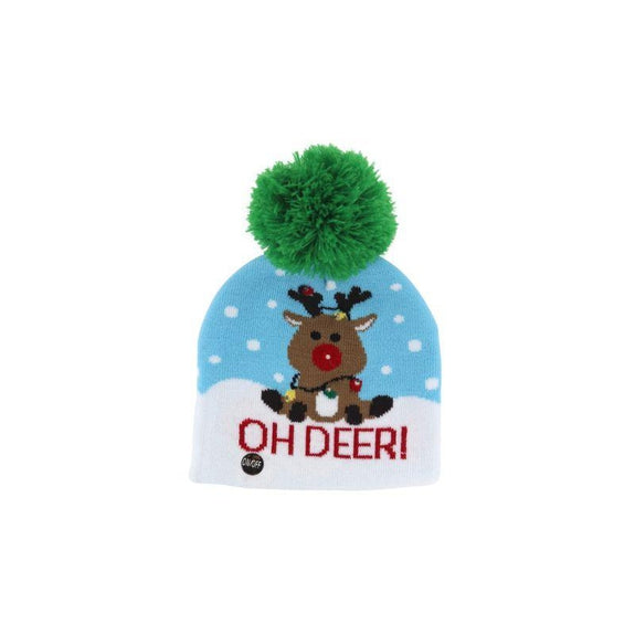 Ugly Sweater Flashing Holiday Beanie Hat for Kids-Reindeer-