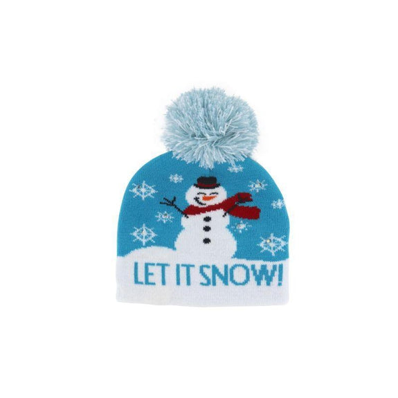 Ugly Sweater Flashing Holiday Beanie Hat for Kids-Snowman-