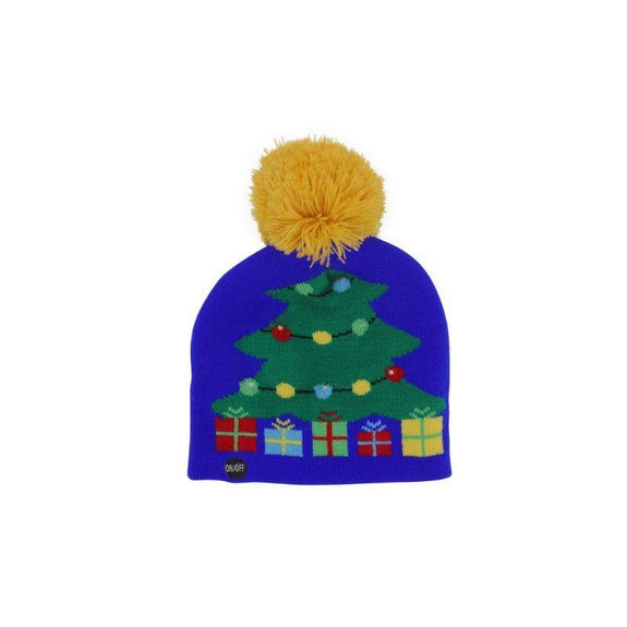 Ugly Sweater Flashing Holiday Beanie Hat for Kids-Christmas Tree-