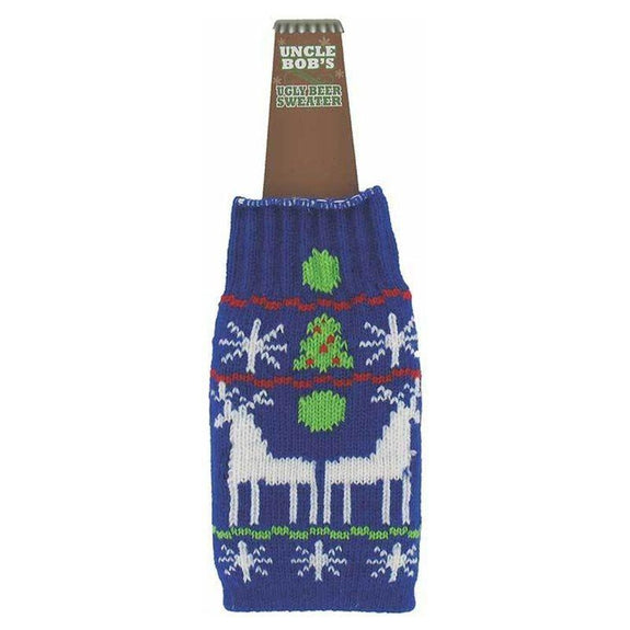 Ugly Sweater Wine and Beer Bottle Koozies Covers - 6 Pack-