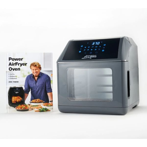 Power Air Fryer 10-in-1 Pro Elite Oven 6-qt with Cookbook-Gray-Daily Steals